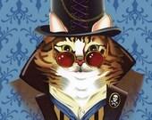Steampunk Cat Print, Steampunk Animal Print, Maine Coon Cat, Victorian Cat Print, Cat in Top Hat