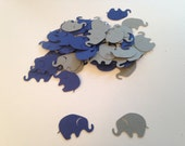 100 Gray Navy Elephant Confetti Die Cut Punch Cutout Scrapbook Baby Shower