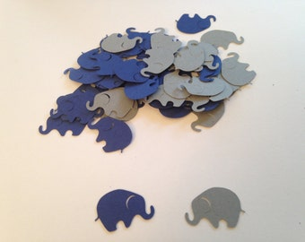 100 Gray Navy Elephant Confetti Die Cut Punch Cutout Scrapbook Baby Shower