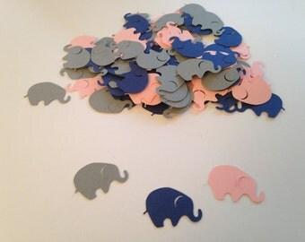 Navy Pink Gray Elephant Confetti Die Cut Elephant Cutout Elephant Baby Shower Elephant Theme Baby Shower Baby Confetti