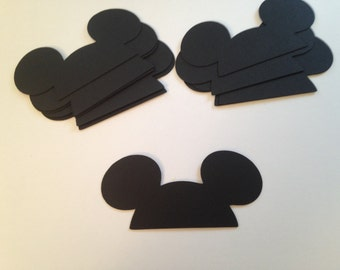 50 Large Black Mickey Mouse Ears Die Cut Punch Cutout Cupcake Topper Embellishment Scrapbook