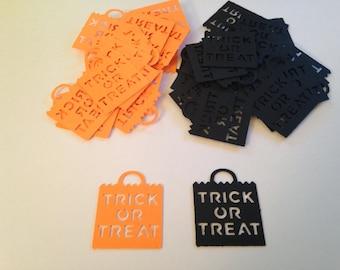 50 Halloween Orange Black Trick or Treat Bag Die Cuts Punch Cutouts Confetti Embellishment Scrapbook