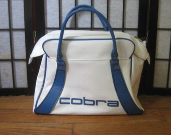 Vintage 1970s 1980s Large Tote Small Suitcase White Blue Totebag Carryall Vinyl by Cobra
