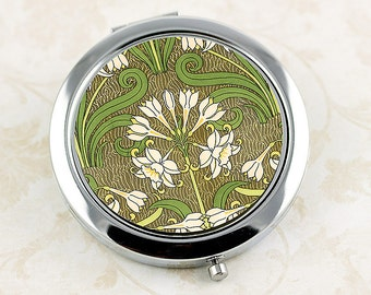 Art Nouveau Compact Mirror, French Vintage Floral Design, Jonquil or Daffodil Flower, Ladies' Purse Mirror, Bridesmaid Gift