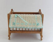 1:12 Crib Blanket Hand Knitted Dollhouse Miniature Cot Blanket Lamb's Wool Turquoise Trim Dollhouse Miniatures Artisan MiniatureJoy