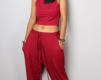 Harem pants / Comfy long red pants classy street style : Urban Chic Collection no.15