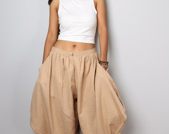 Harem Pants / Wide leg pants / Light Brown Cotton Pants : Nature Touch Collection
