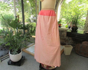 Antique Full Length Pink  Flannel Cotton Underskirt, Vintage Slip, Vintage Skirt, Antique Clothing, Turn of the Century Clothing
