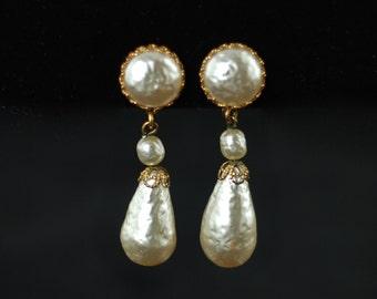 Vintage Miriam Haskell Faux Baroque Pearl Pendant Earrings