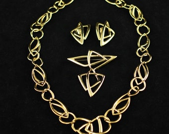 Vintage Kunio Matsumoto for Trifari Parure - Necklace, Earrings and Brooch