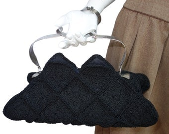 CORDE Black Crochet 40s Long Purse with hammered Chrome Handle and Matching Cuff Bracelet