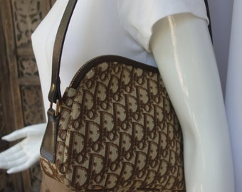 CHRISTIAN DIOR 70s Brown Monogram Canvas Shoulder Bag