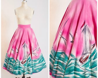 50s Vintage Skirt Handpainted Mexican Cotton Vintage 1950s Full Circle Skirt Size Small