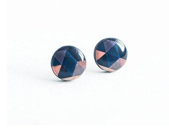 Geometric stud earrings nickel free earrings studs dark blue stud earrings ohrstecker modern jewelry handmade studs everyday wear