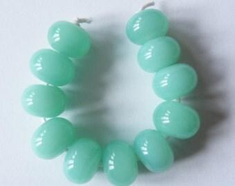 11 Handmade Lampwork Glass Spacer Beads - Celadon Green