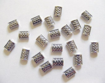 30 Metal Antique Silver Rectangle Spacer Beads - 7mm