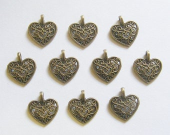 10 Metal Antique Bronze Ornate Heart Charms - 16mm