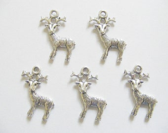 5 Metal Antique Silver Reindeer Charms - 24mm