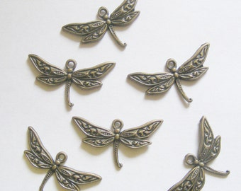 6 Metal Antique Bronze Dragonfly Charms - 32mm