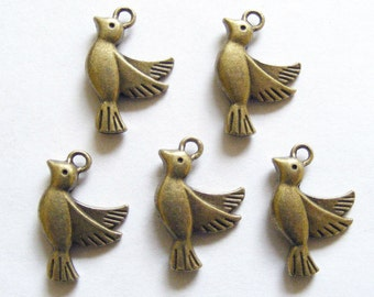 5 Metal Antique Bronze Bird Charms - 23mm