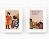 Vintage Nursery Rhyme Print. Letter H vintage alphabet print 8x10 Hector Harriet Vintage Nursery Print Grahame Johnstone Set of 2