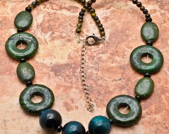 Green Lapis and tiger eye silver plated necklace (#J272)