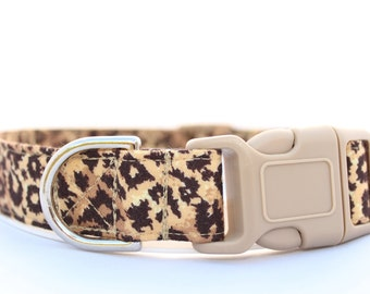 Handmade Cotton Dog Collar - Leopard Print #2