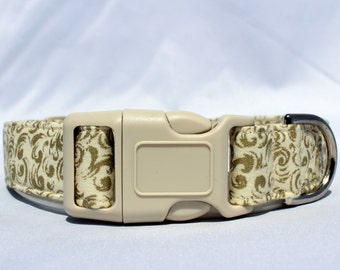 Handmade Cotton Dog Collar - Shimmery Gold Designs on Cream