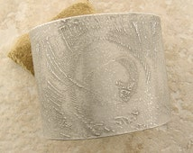 """Etched Pewter Cuff Bracelet, Snowy White Peacock Feathers, 1.875"""" Wide, 5.75"""" around"""