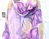 Soft Double Layered Silk Scarf hand painted, Reversible two tone Purple Iris Scarf, Silk Chiffon Scarf, Silk Scarves Takuyo, 8x54 inches.