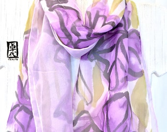 Soft Double Layered Silk Scarf hand painted, Reversible two tone Purple Iris Scarf, Silk Chiffon Scarf, Silk Scarves Takuyo, 8x54 inches.