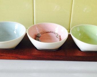 Ceramic and teak condiment tray