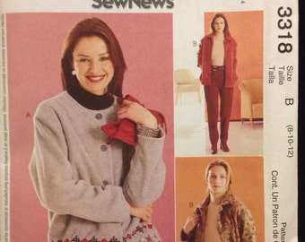 McCall's 3318 Sew News Cardigan Pattern size B (8-10-12)