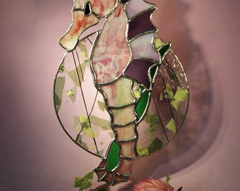 Stained Glass Sea Horse Suncatcher Hanging on Sea Leaf  (610)