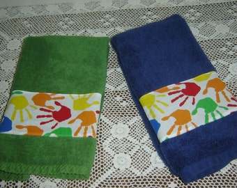 Green or navy children's kids' hand towel, w/primary colors handprints, red/green/blue/yellow/orange, 100% cotton terry towel, under 10