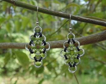 Japanese Diamond Earrings (Black and Lime Green)