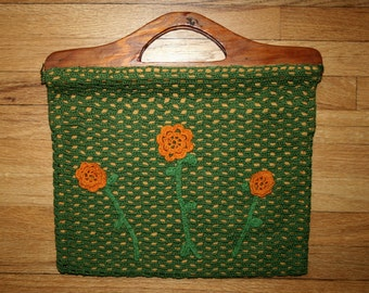 Vintage Crocheted Purse, Wooden Handles, Flower Embellishments, Lined
