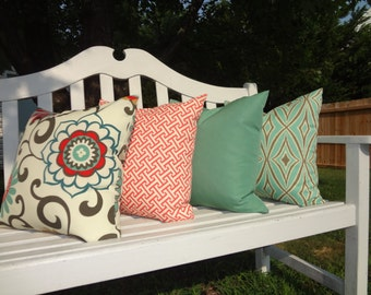 OUTDOOR Porch Pillows Salmon Cross Section Green Floral Design Coordinating Outdoor Pillow Covers Choose Size