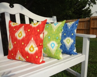 SALE OUTDOOR Porch Pillows Red Blue Green Ikat Design Coordinating Outdoor Pillow Covers 18x18