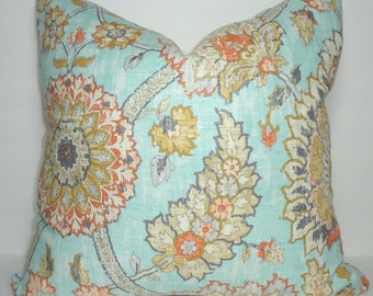 Waverly Clifton Hall Pale Blue & Orange Floral Pillow Cover Decorative Pillow Cover Size 18x18