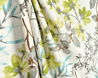 Two Curtain Panels Braemore Gazebo Cloud Floral Designer Curtain Panels Blue Lime Grey Teal Floral Curtains & Valances
