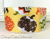 "Fall Wired Ribbon, 2 1/2"" wide, Patterned Pumpkins, Yellow, Orange, Brown - THREE YARDS - Offray ""Lumina"" Halloween Wire Edged Ribbon"