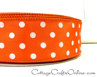 """Wired Ribbon, 1 1/2"""" wide, Orange with White Polka Dots - FIFTY YARD ROLL - Offray Ribbon, Spring, Summer, Halloween Wire Edged Ribbon ff"""