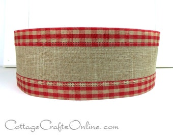 """Wired Ribbon, 2 1/2"""" Red and Tan Gingham Check Edge Linen Look - Three yards - Christmas, Patriotic Wire Edged Ribbon"""