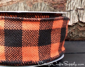 "SALE! Halloween Wired Ribbon, 2 1/2"", Black and Orange Buffalo Plaid Burlap - Three Yards -  ""Halloween Buffalo"" Jute  Wire Edged Ribbon"