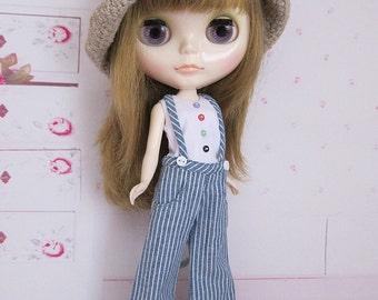 Blythe : Striped overalls set