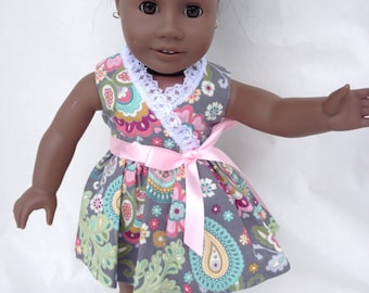 18 inch Doll Dress, Wrap Around Paisley Dress with Lace,  made to fit 18 inch dolls such as American Girl and similar 18 inch dolls