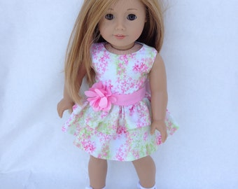18inch Doll Dress, Pink and Lime Ruffled Party Dress,  made to fit 18 inch dolls such as American Girl and similar 18 inch dolls