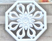 White Scrolled Large Wall Plaque 3d