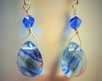 Blue Ice Dangle Earrings - Beautiful Blue Transparent Beads - by ChicArtistique